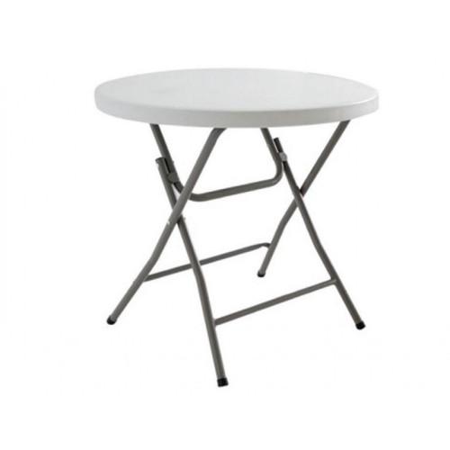 Τραπέζι Catering - Συνεδρίου στρογγυλό πτυσσόμενο μεταλλικό (80x80x70cm) λευκό EO180