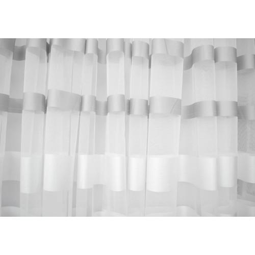 Κουρτίνες έτοιμες ραμμένες οργάντζα λευκό με ρίγες λευκό και γκρι KE 1394  (280X140cm) - με τρέσα