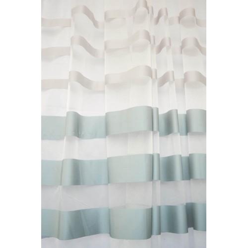 Κουρτίνες έτοιμες ραμμένες οργάντζα με ρίγες στο τελείωμα λευκό KE 715 (280X140cm) - με τρέσα