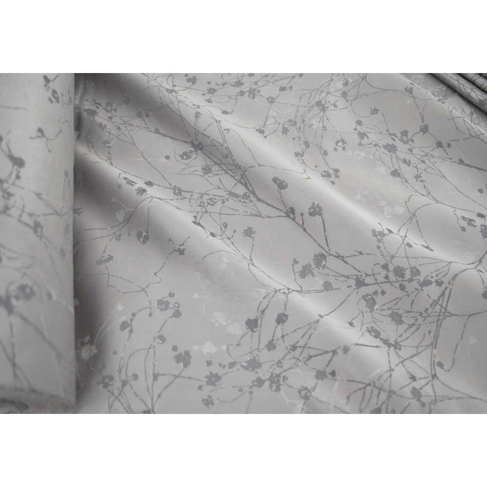 Κουρτίνες έτοιμες ραμμένες  ταφτά ζακάρ γκρι KE 981 (280X220cm)