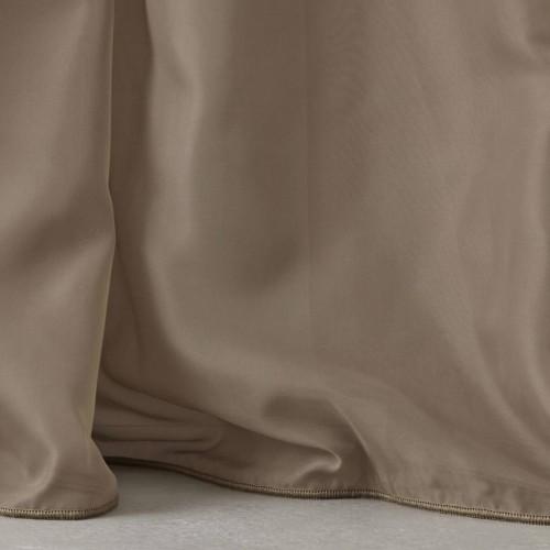 Κουρτίνες έτοιμες ραμμένες με τρουκς βουάλ  καφέ πούρου KET707 (280x300cm)