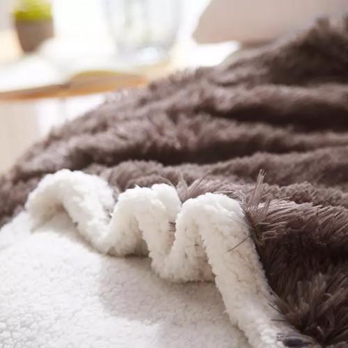Κουβέρτα Flannel Sherpa Προβατάκι Shaggy διπλή μπεζ-κρεμ (220X190) KFS153D