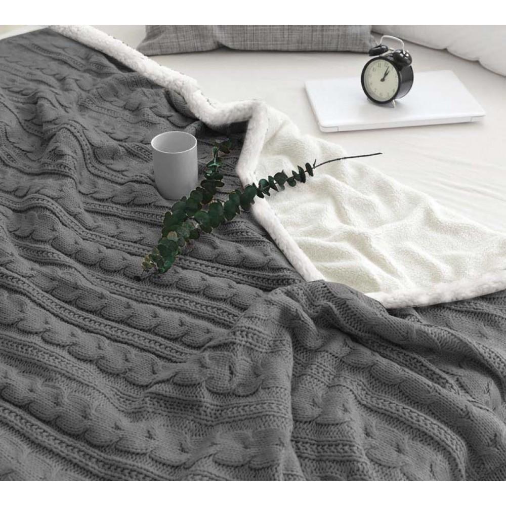 Πλεκτή κουβέρτα - ριχτάρι Μονή Γκρι (160x220cm) KNT-004S