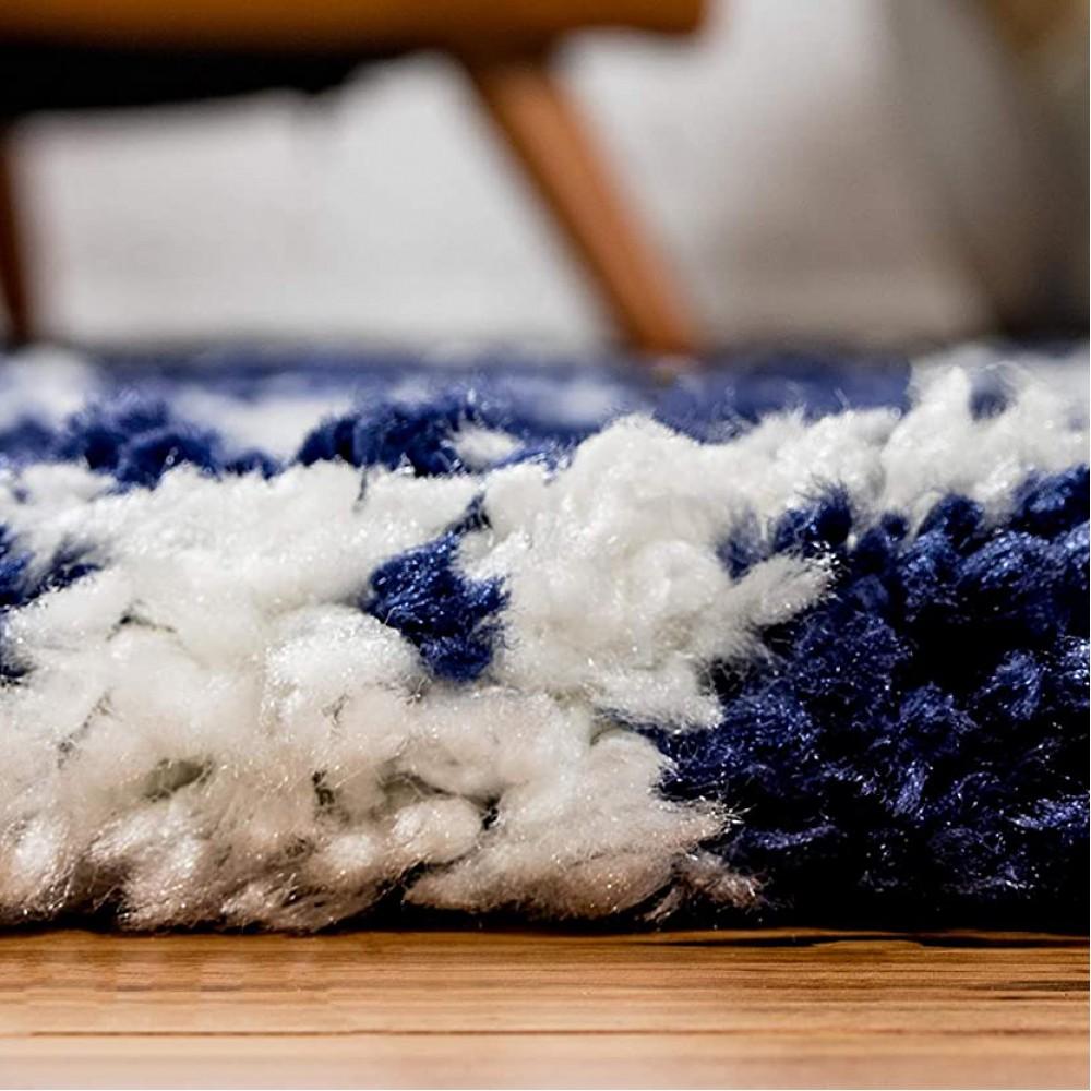 Χαλιά Shaggy Moroccan Woven 283BL Μπλε-ιβουάρ 240x300cm