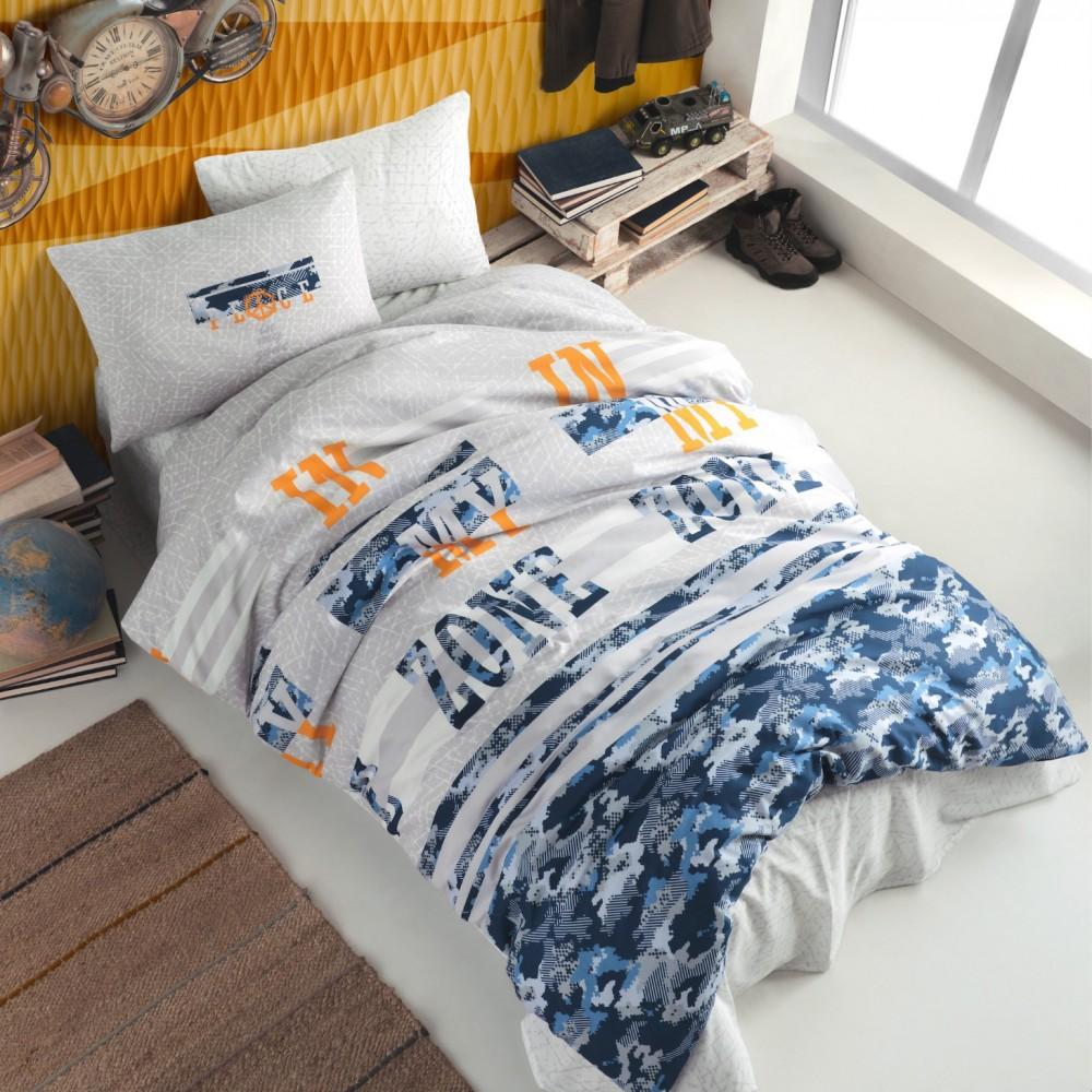 Σετ Μονή Κουβέρτα πικέ με σεντόνι Box Freezone Μπλε (3τμχ) SET555