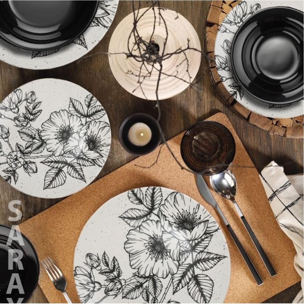 Σετ Πιάτα 24 Τεμαχίων Πορσελάνης Flower Ασπρόμαυρο 1384-03