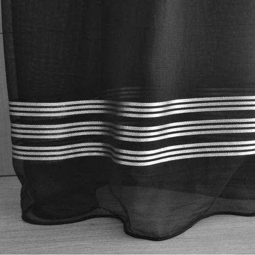 Κουρτίνες έτοιμες ραμμένες τύπου γάζα μαύρο-γκρι με ρίγες ασημί (280X280cm) KE 1493 - με τρέσα