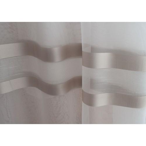 Κουρτίνες έτοιμες ραμμένες τύπου γάζα λευκό με ρίγες μπεζ-χρυσό στο τελείωμα CR 1495