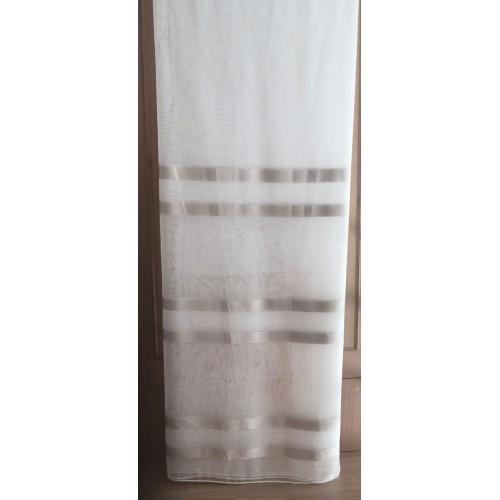 Κουρτίνες έτοιμες ραμμένες τύπου oργάντζα λευκό με ρίγες μπεζ-χρυσό στο τελείωμα KE 1495 (280X140cm)