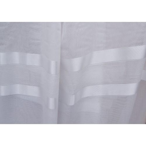 Κουρτίνες έτοιμες ραμμένες τύπου γάζα λευκό του πάγου με ρίγες στο τελείωμα KE 1496 (280X140cm)
