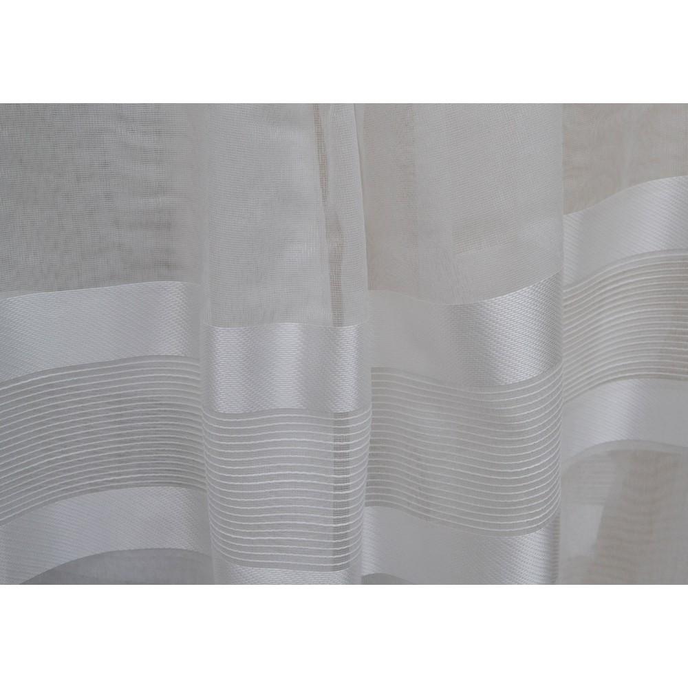 Κουρτίνες έτοιμες ραμμένες τύπου γάζα λευκό σπαστό με ρίγες στο τελείωμα KE 1497 (280X300cm)