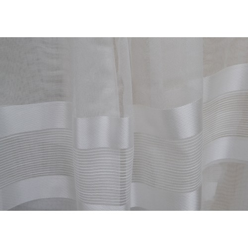Κουρτίνες έτοιμες ραμμένες τύπου γάζα λευκό σπαστό με ρίγες στο τελείωμα KE 1497 (280X140cm)