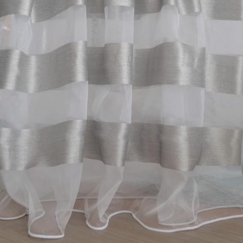 Κουρτίνες έτοιμες ραμμένες οργάντζα λευκό με ρίγες στο τελείωμα ασημί KE 1558 (280X300cm) - με τρέσα