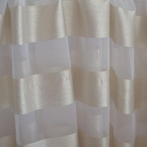 Κουρτίνες έτοιμες ραμμένες με τρουκς οργάντζα λευκό με ρίγες στο τελείωμα χρυσές KET1561 (280X140cm)