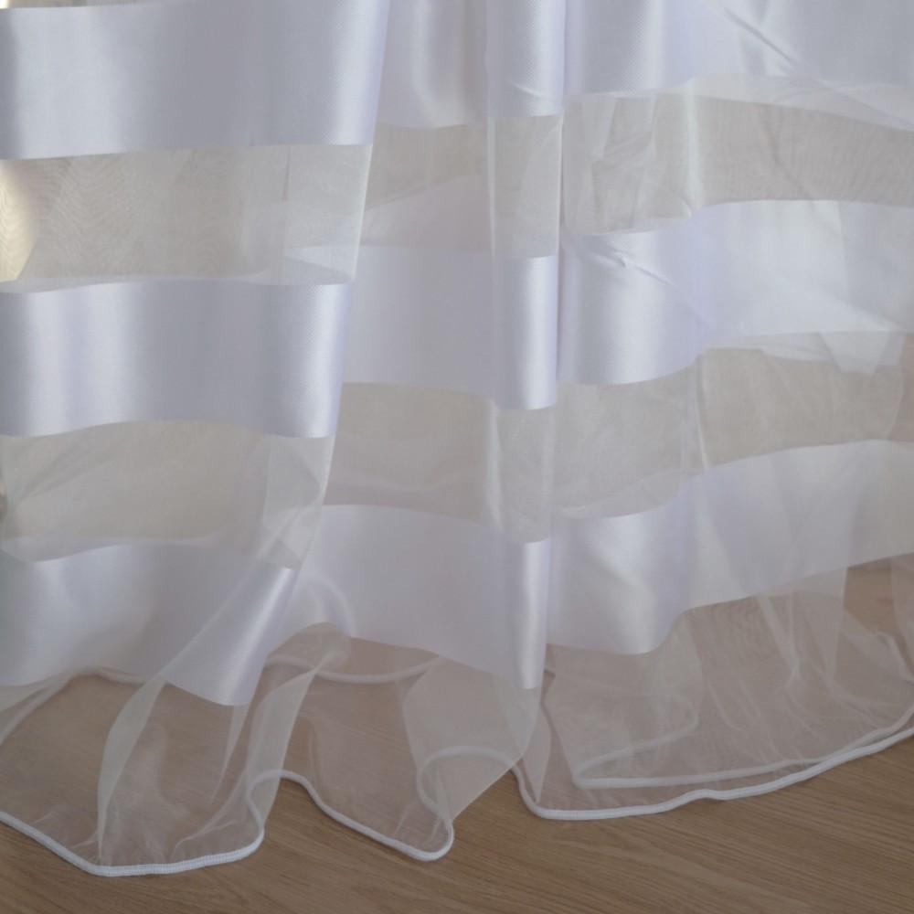 Κουρτίνες έτοιμες ραμμένες με τρουκς οργάντζα λευκό με ρίγες στο τελείωμα λευκές KET1562 (280X300cm)