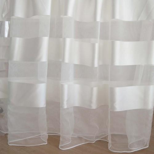 Κουρτίνες έτοιμες ραμμένες οργάντζα λευκό σπαστό με ρίγες στο τελείωμα λευκές KE 1563 (280X300cm) - με τρέσα