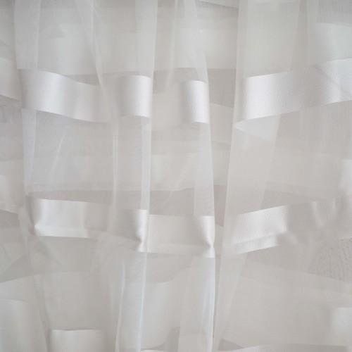 Κουρτίνες έτοιμες ραμμένες με τρουκς οργάντζα λευκό σπαστό με ρίγες στο τελείωμα λευκές KET1563 (280X140cm)