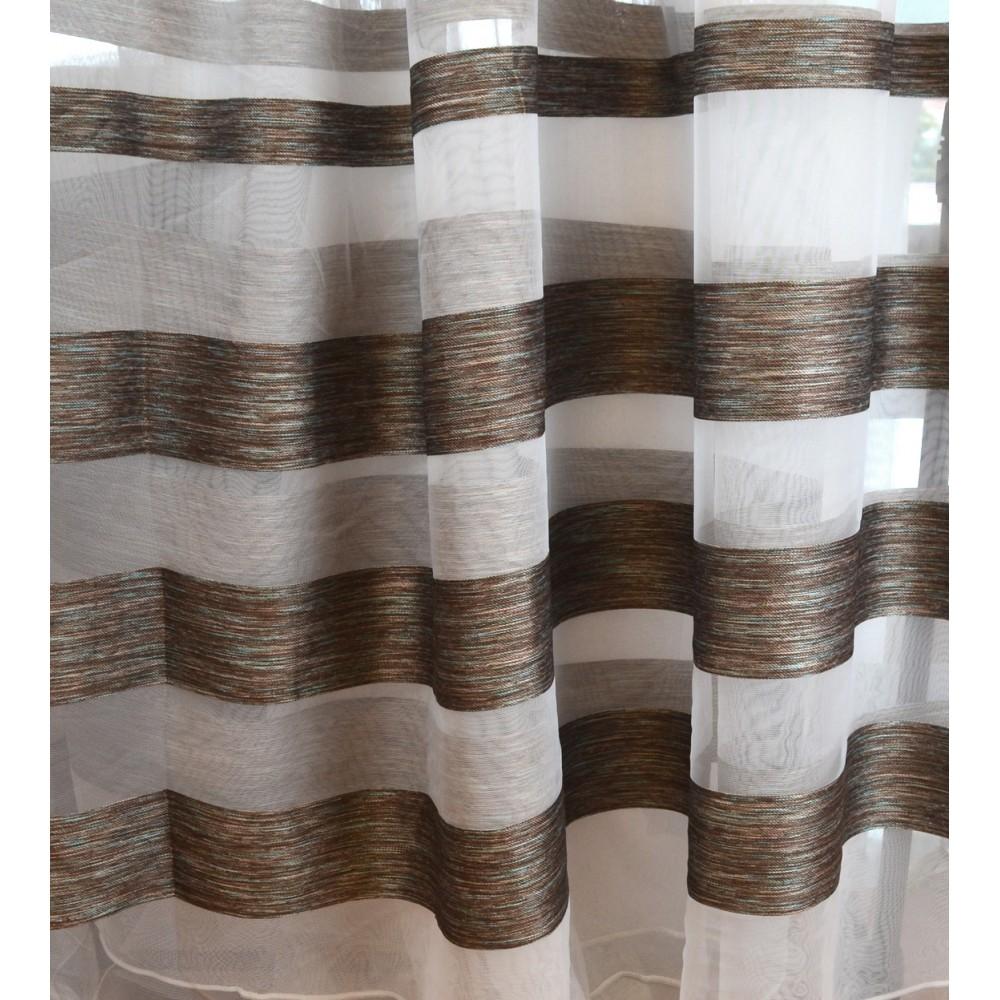Κουρτίνες έτοιμες ραμμένες οργάντζα λευκό με ρίγες στο τελείωμα καφέ KE 1765 (280X300cm) - με τρέσα