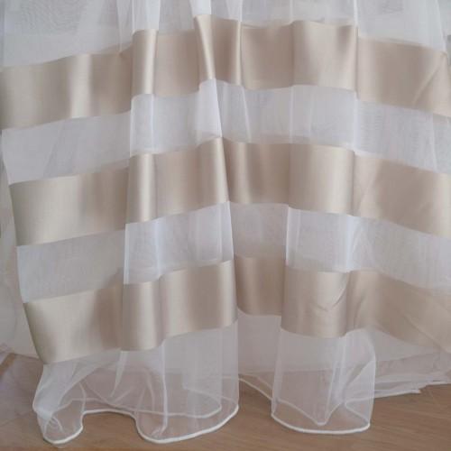 Κουρτίνα με το μέτρο ύφασμα οργάντζα με ρίγες στο τελείωμα λευκή CR 684