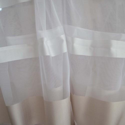 Κουρτίνες έτοιμες ραμμένες οργάντζα λευκό με ρίγες στο τελείωμα μπεζ-χρυσο και λευκό KE 684 (280X300cm)