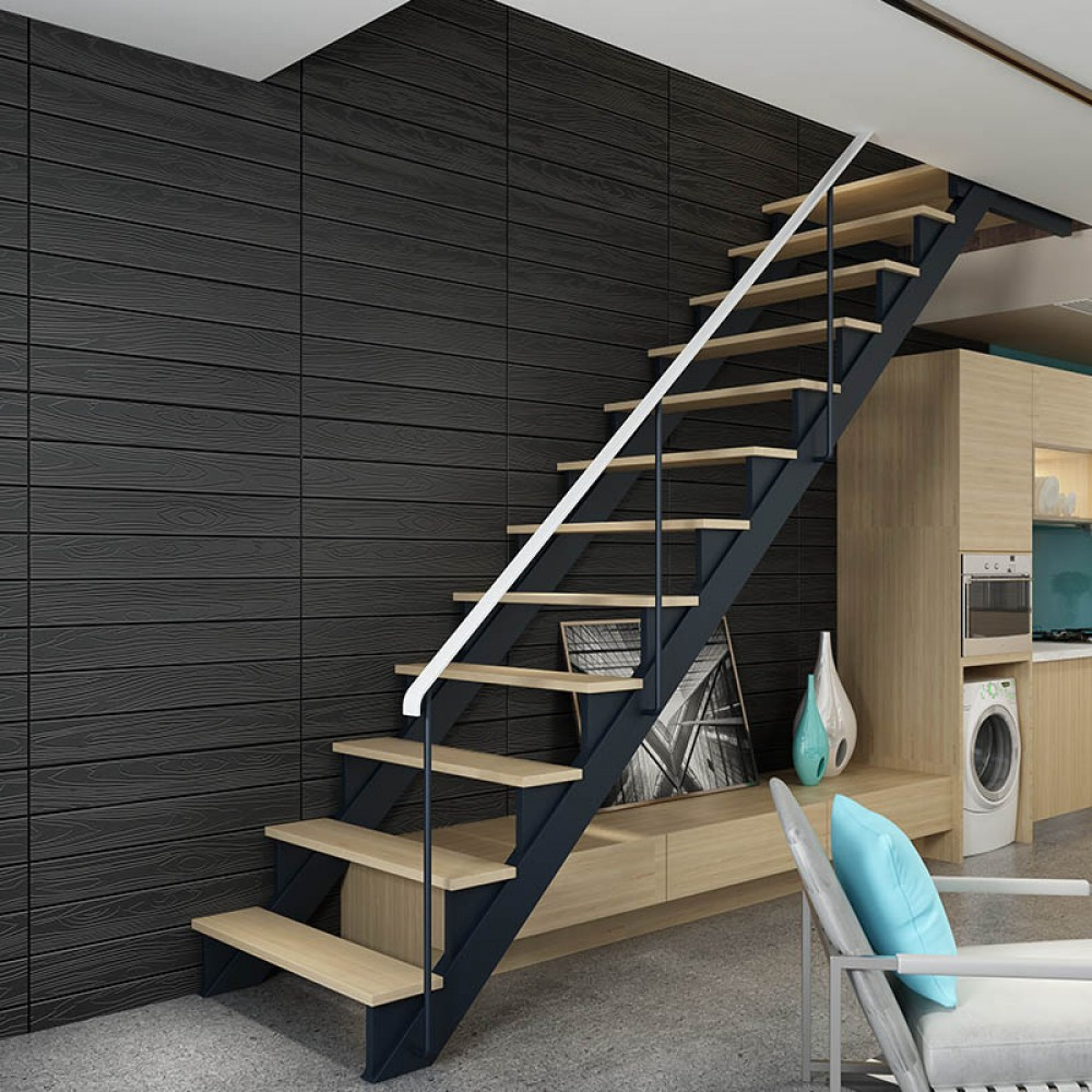 3D Αυτοκόλλητο πάνελ τοίχου ξύλο μαύρο (τμχ) FWP22