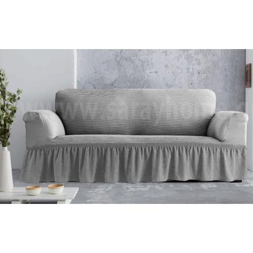 Ελαστικά καλύμματα καναπέδων-σαλονιού Line με βολάν Γκρι ανοιχτό (ΣΕΤ: Πολυθρόνα-Διθέσιο-Τριθέσιο) EK049-GR-S