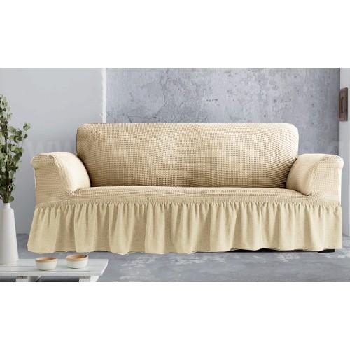 Ελαστικά καλύμματα καναπέδων-σαλονιού Line με βολάν Ιβουάρ  (ΣΕΤ: Πολυθρόνα-Διθέσιο-Τριθέσιο) EK049-I-S