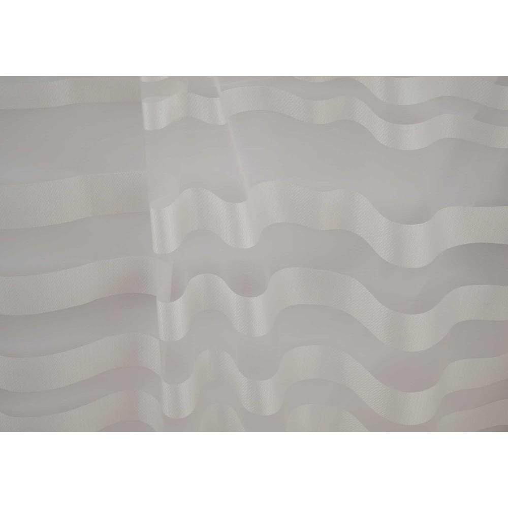 Κουρτίνες έτοιμες ραμμένες οργάντζα με ρίγες στο τελείωμα λευκό KE 839 (280X140cm)