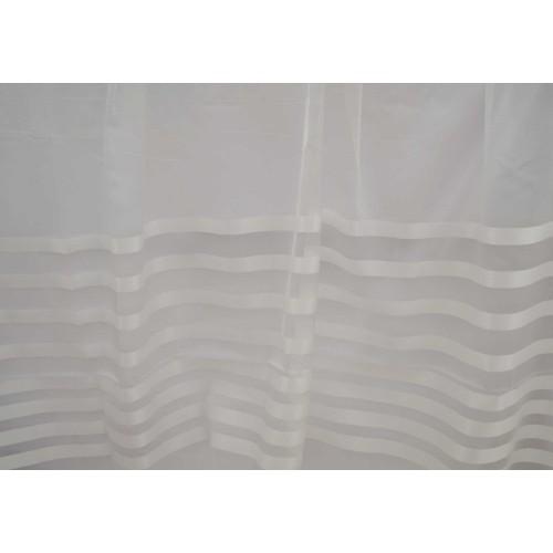 Κουρτίνες έτοιμες ραμμένες οργάντζα με ρίγες στο τελείωμα λευκό KE 839 (280X300cm)
