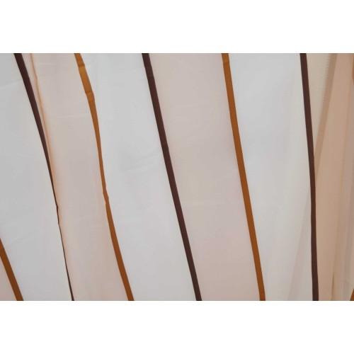 Κουρτίνες έτοιμες ραμμένες με τρουκς βουάλ καφέ με λευκό KET853 (280X300cm)